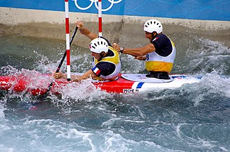 Canoeing at the 2012 Summer Olympics – Men's slalom C-2 - Image: Slalom canoeing 2012 Olympics C2 FRA Gauthier Klauss and Matthieu Peche