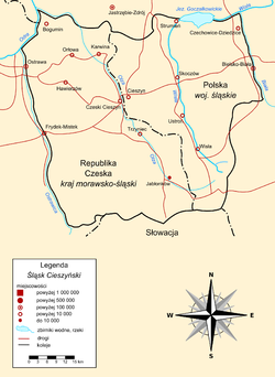 Polish map of Cieszyn Silesia. The solid black line is the historical border of the region, and the broken black line is the international border.