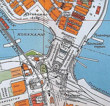Slussenområdet på Stadsingenjörskontorets kort fra 1940 og Slussenområdet på Open street map 2014