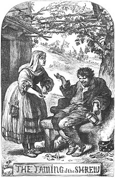 H.C. Selous' illustration of Sly and the Hostess; from The Plays of William Shakespeare: The Comedies, edited by Charles Cowden Clarke and Mary Cowden Clarke (1830). Sly Induction.jpg