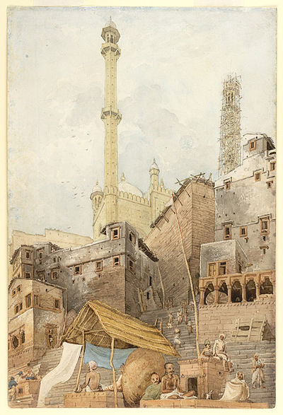 Construction of the Mosque of Aurangzeb near the bank of the Ganges River at Varanasi. - Varanasi