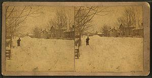 Victor, Iowa - Snow-covered street, Victor, Iowa, created c. 1870