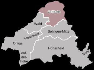 Gräfrath - Locator map of Gräfrath in Solingen