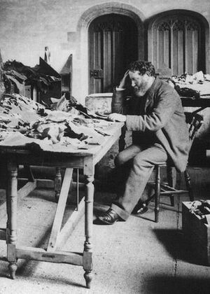 Cairo Geniza - Solomon Schechter at work in Cambridge University Library, 1898