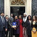 Some members of the City Sikhs and British Sikh Report teams outside Number 10 Downing Street.jpg
