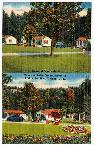 Goodrich Falls - Postcard of Goodrich Falls Cabins on New Hampshire Route 16