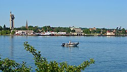View of Sault Ste. Marie, Michigan, from the Canadian side of the river.