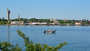 Sault Ste. Marie, Michigan - View of Sault Ste. Marie, Michigan, from the Canadian side of the river.