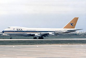 South African Airways Flight 295 - ZS-SAS, the aircraft involved in the accident, seen at Faro Airport in 1986
