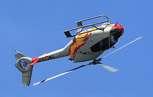 Aerobatics - A Spanish Air Force Colibri demonstrates its agility with a barrel roll
