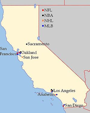 Sports In California Wikipedia - Map of us pro sports teams