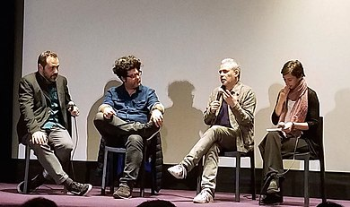 Filmmakers Stephane Brize (second from the right) and Rodrigo Moreno (second from the left) at a screening of The Measure of a Man in Buenos Aires in 2019. Stephane Brize in Buenos Aires in 2019.jpg