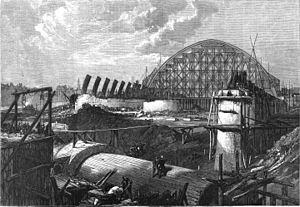 St Pancras railway station - The train shed under construction in 1868