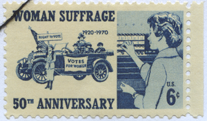 US Stamp from 1970 celebrating 50 years of woman suffrage Stamp-US-1970-Woman-Suffrage.png