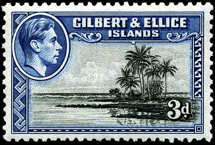 Stamp with portrait of King George VI, 1939 Stamp Gilbert Ellice Islands 1939 3p.jpg