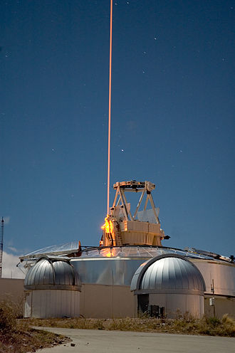 Lidar - A FASOR used at the Starfire Optical Range for lidar and laser guide star experiments is tuned to the sodium D2a line and used to excite sodium atoms in the upper atmosphere.