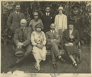 Purachatra Jayakara - Official visit of members of the Royal Family of Thailand to Brisbane, 1927. Back row, standing, left to right: Lt. Col. Neil Campbell; Princess Mayura-Statra, daughter of Prince Purachatra; private secretary to Prince Purachatra; Enid Campbell; Major Cecil Wolff. Seated left to right: Governor Sir John Goodwin; Princess Purachatra; Prince Purachatra of Siam Kambaeng Bejra, Thailand, and Lady Goodwin