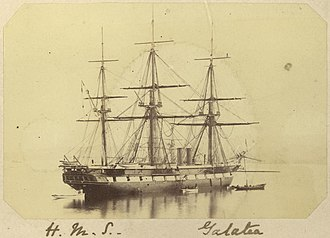 HMS Galatea (1859) - Image: State Lib Qld 1 254247 Three masted sailing ship H.M.S. Galatea, ca. 1868