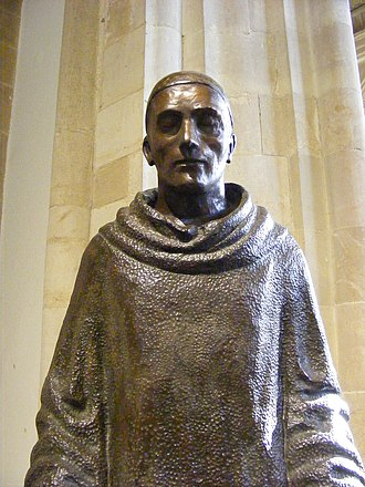 Aldhelm - Statue of St Aldhelm in Sherborne Abbey by Marzia Colonna