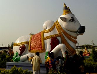 Animal worship - A statue of a cow at the Lord Shiva Temple in Kanipakam