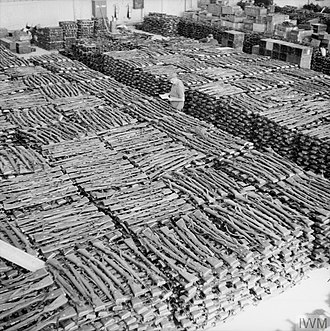 Operation Doomsday - Storeroom at Solar aerodrome, Stavanger, holding some of the estimated 30,000 rifles taken from German forces in Norway after their surrender