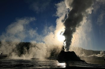 English: Steam phase eruption of Castle Geyser...