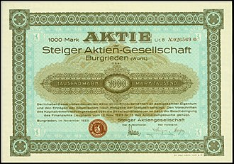 Steiger (automobile company) - Share of the Steiger AG, issued November 1923
