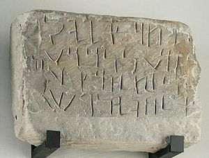 Aramaic alphabet - Stele with dedicatory lapidary Aramaic inscription to the god Salm. Sandstone, 5th century BC. Found in Tayma by Charles Huber in 1884 and now in the Louvre.