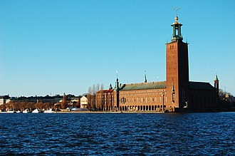 Kungsholmen (borough) - Image: Stockholm City Hall by sunset