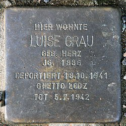 Photo of Luise Grau brass plaque