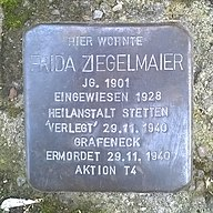 Stolperstein Frida Ziegelmaier B-B Pfarrstrasse 6 20170902.jpg