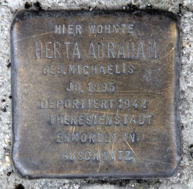 Photo of Herta Abraham brass plaque