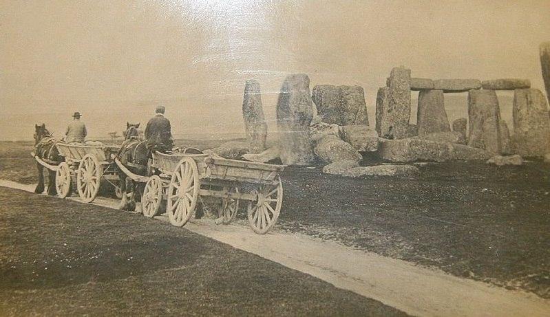 Stonehenge with farm carts, c. 1885
