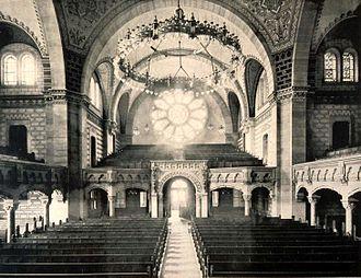 Synagogue du Quai Kléber - Image: Strasbourg synagogue quai Kléber vue nef 1898 1940
