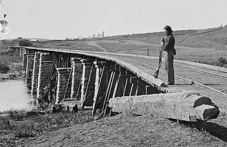 Strawberry Plains, Tennessee - A Union sentry guards the railroad bridge over the Holston River at Strawberry Plains in 1863