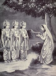 Sukanya praying to Aswini kumaras to reveal her husband's identity
