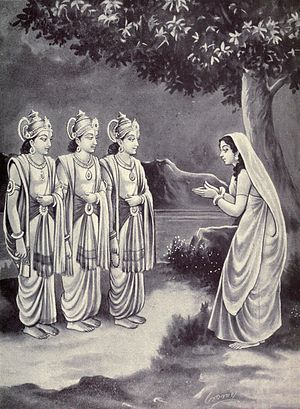 Chyavana - Sukanya praying to Aswini kumaras to reveal her husband identity
