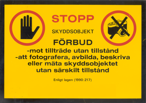 Censorship in Sweden - Swedish sign for an officially designated secure compound.