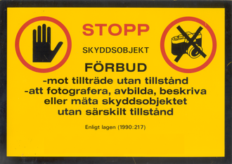 Compound (fortification) - Swedish sign for an officially designated secure compound