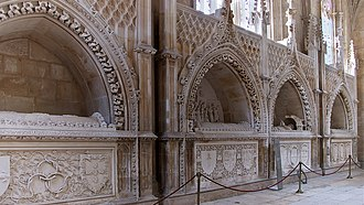 Illustrious Generation - Tombs of the high princes, Founder's Chapel, Batalha Monastery. From left to right, Ferdinand the Holy, John of Reguengos, Henry the Navigator and Peter of Coimbra