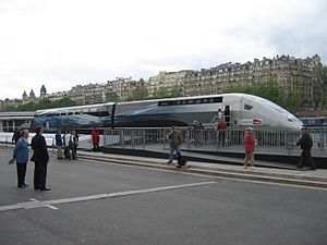 TGV world speed record - Part of TGV trainset 4402 displayed near the Eiffel Tower after the record