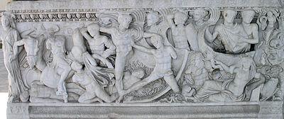 Μάχη κοντά στα Σκάφη στα παράλια της Τροίας, Αθηναϊκή σαρκοφάγος, Αρχαιολογικό Μουσείο Θεσσαλονίκης, δεύτερο τέταρτο του 3ου αιώνα.