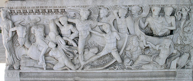 Combat als vaixells davant de Troia, baix relleu d'un sarcòfag (segle III)