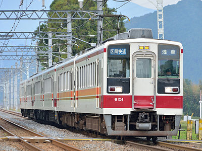 A Tobu 6050 series EMU 6-car formation led by set 6151 on the Tobu Nikko Line on a sectional rapid service for Asakusa