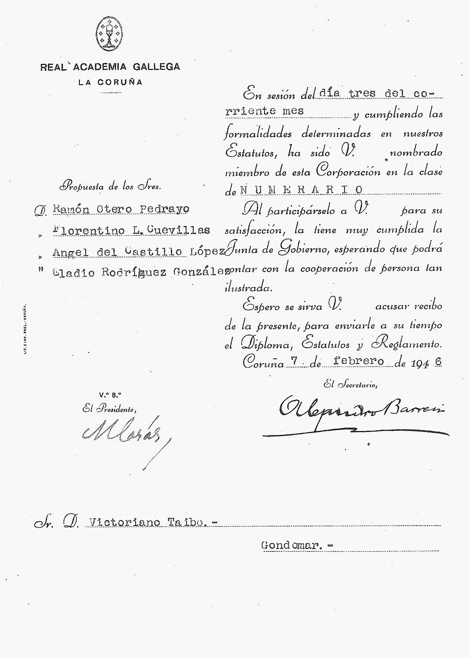 Nomeamento como membro da RAG. 1946.
