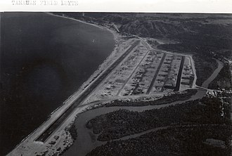 Tanauan, Leyte - Tanauan Airfield in July 1945 overlooking what is now known as Barangay San Roque (foreground) and Barangay Sto Nino (halfway to the south of the airfield). Ambao Hill is seen in the background.