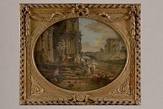 Paysage de ruines avec fontaine dont le sujet évoque la devise \
