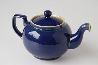 "Denby Pottery Company - A Denby ""neverdrip"" teapot in blue, a design from the 1920s or 1930s"