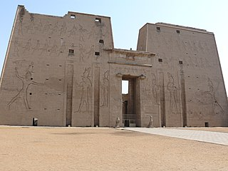 Temple of Edfu ancient Egyptian temple, located on the west bank of the Nile in Edfu, Upper Egypt
