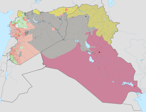ISIL's territory in Iraq and Syria, in grey, at the time of its greatest territorial extent in May 2015 Territoires de l'Etat islamique juin 2015.png